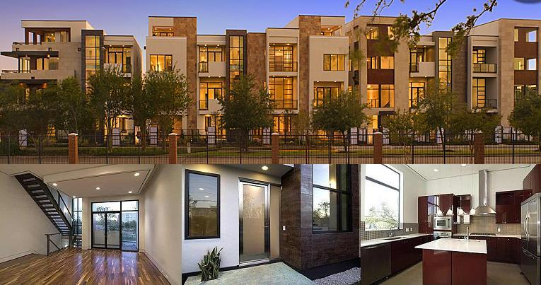 Uptown modern homes galleria modern townhomes houston for Modern houses in houston